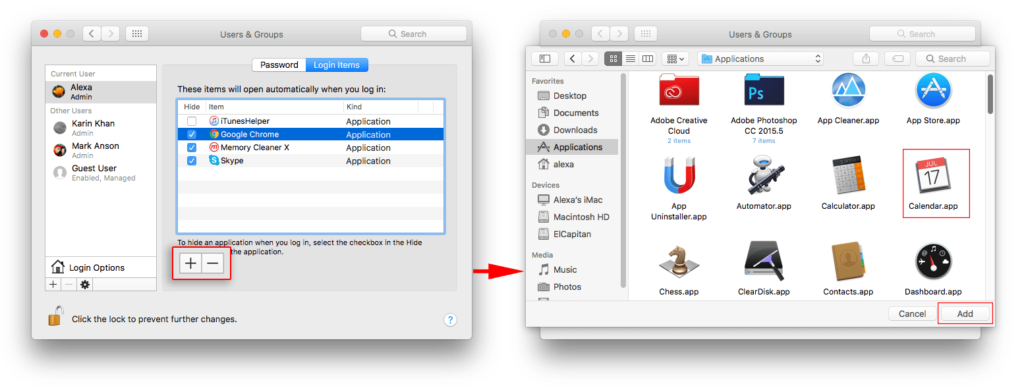 add items on startup programs on mac